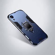 Coque Contour Silicone et Plastique Housse Etui Mat avec Support pour Huawei Honor 8A Bleu