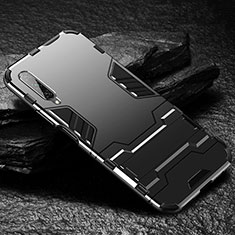 Coque Contour Silicone et Plastique Housse Etui Mat avec Support pour Huawei Honor 9X Pro Noir