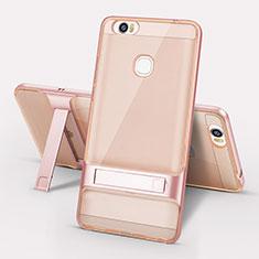 Coque Contour Silicone et Plastique Housse Etui Mat avec Support pour Huawei Honor Note 8 Or Rose