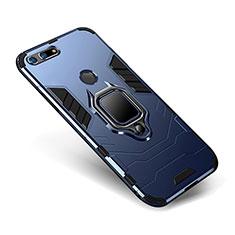 Coque Contour Silicone et Plastique Housse Etui Mat avec Support pour Huawei Honor V20 Bleu