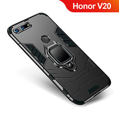 Coque Contour Silicone et Plastique Housse Etui Mat avec Support pour Huawei Honor V20 Noir