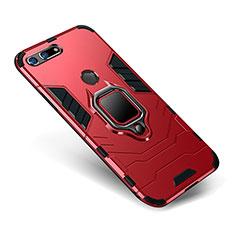 Coque Contour Silicone et Plastique Housse Etui Mat avec Support pour Huawei Honor V20 Rouge