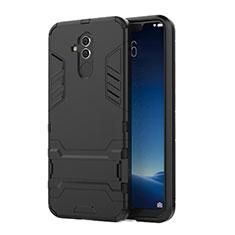 Coque Contour Silicone et Plastique Housse Etui Mat avec Support pour Huawei Maimang 7 Noir