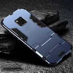 Coque Contour Silicone et Plastique Housse Etui Mat avec Support pour Huawei Mate 20 Pro Bleu