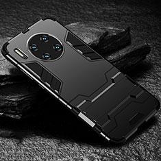 Coque Contour Silicone et Plastique Housse Etui Mat avec Support pour Huawei Mate 30 Noir