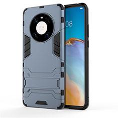Coque Contour Silicone et Plastique Housse Etui Mat avec Support pour Huawei Mate 40 Pro Bleu