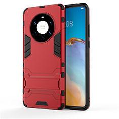 Coque Contour Silicone et Plastique Housse Etui Mat avec Support pour Huawei Mate 40 Pro+ Plus Rouge