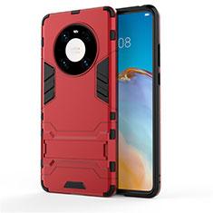 Coque Contour Silicone et Plastique Housse Etui Mat avec Support pour Huawei Mate 40 Rouge