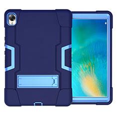 Coque Contour Silicone et Plastique Housse Etui Mat avec Support pour Huawei MatePad 10.8 Bleu