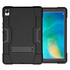 Coque Contour Silicone et Plastique Housse Etui Mat avec Support pour Huawei MatePad 10.8 Noir
