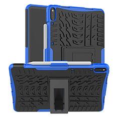 Coque Contour Silicone et Plastique Housse Etui Mat avec Support pour Huawei MatePad Pro Bleu