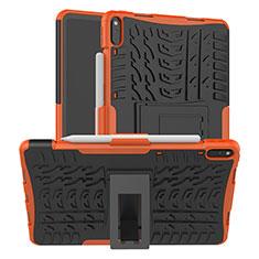 Coque Contour Silicone et Plastique Housse Etui Mat avec Support pour Huawei MatePad Pro Orange