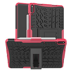 Coque Contour Silicone et Plastique Housse Etui Mat avec Support pour Huawei MatePad Pro Rose
