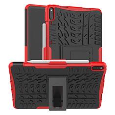 Coque Contour Silicone et Plastique Housse Etui Mat avec Support pour Huawei MatePad Pro Rouge