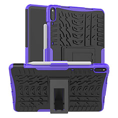 Coque Contour Silicone et Plastique Housse Etui Mat avec Support pour Huawei MatePad Pro Violet