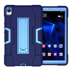 Coque Contour Silicone et Plastique Housse Etui Mat avec Support pour Huawei MediaPad M6 8.4 Bleu