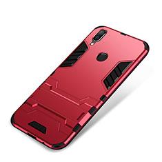 Coque Contour Silicone et Plastique Housse Etui Mat avec Support pour Huawei Nova 3i Rouge