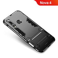 Coque Contour Silicone et Plastique Housse Etui Mat avec Support pour Huawei Nova 4 Noir