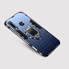Coque Contour Silicone et Plastique Housse Etui Mat avec Support pour Huawei Nova 4e Bleu