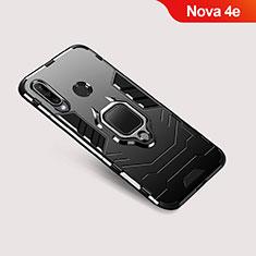 Coque Contour Silicone et Plastique Housse Etui Mat avec Support pour Huawei Nova 4e Noir