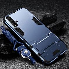 Coque Contour Silicone et Plastique Housse Etui Mat avec Support pour Huawei Nova 5 Pro Bleu