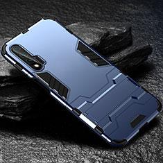 Coque Contour Silicone et Plastique Housse Etui Mat avec Support pour Huawei Nova 6 5G Bleu