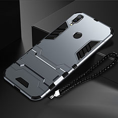 Coque Contour Silicone et Plastique Housse Etui Mat avec Support pour Huawei Nova Lite 3 Gris