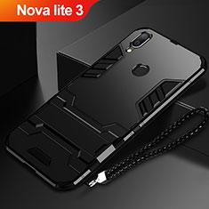 Coque Contour Silicone et Plastique Housse Etui Mat avec Support pour Huawei Nova Lite 3 Noir