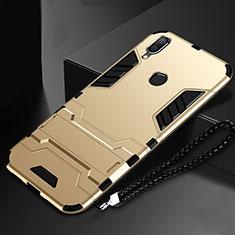 Coque Contour Silicone et Plastique Housse Etui Mat avec Support pour Huawei Nova Lite 3 Or