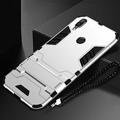 Coque Contour Silicone et Plastique Housse Etui Mat avec Support pour Huawei P Smart (2019) Argent