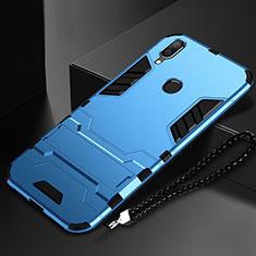 Coque Contour Silicone et Plastique Housse Etui Mat avec Support pour Huawei P Smart (2019) Bleu Ciel