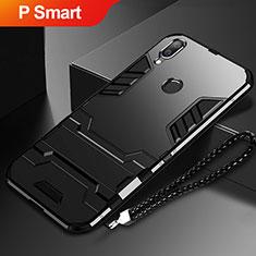 Coque Contour Silicone et Plastique Housse Etui Mat avec Support pour Huawei P Smart (2019) Noir