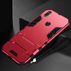 Coque Contour Silicone et Plastique Housse Etui Mat avec Support pour Huawei P Smart (2019) Rouge