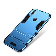 Coque Contour Silicone et Plastique Housse Etui Mat avec Support pour Huawei P Smart+ Plus Bleu