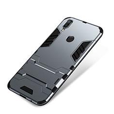 Coque Contour Silicone et Plastique Housse Etui Mat avec Support pour Huawei P Smart+ Plus Gris