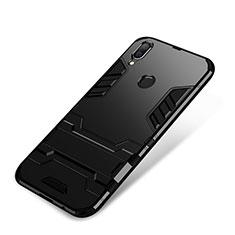 Coque Contour Silicone et Plastique Housse Etui Mat avec Support pour Huawei P Smart+ Plus Noir