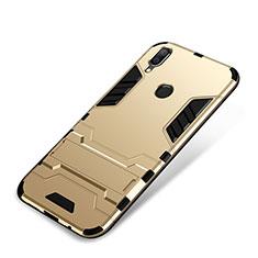 Coque Contour Silicone et Plastique Housse Etui Mat avec Support pour Huawei P Smart+ Plus Or