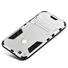 Coque Contour Silicone et Plastique Housse Etui Mat avec Support pour Huawei P10 Lite Argent