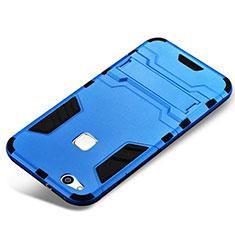 Coque Contour Silicone et Plastique Housse Etui Mat avec Support pour Huawei P10 Lite Bleu