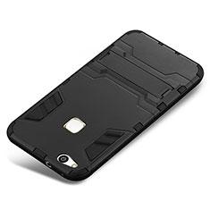 Coque Contour Silicone et Plastique Housse Etui Mat avec Support pour Huawei P10 Lite Noir