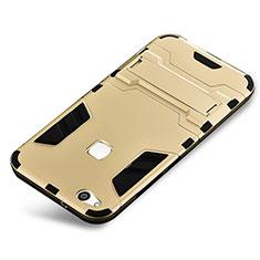 Coque Contour Silicone et Plastique Housse Etui Mat avec Support pour Huawei P10 Lite Or