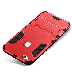 Coque Contour Silicone et Plastique Housse Etui Mat avec Support pour Huawei P10 Lite Rouge