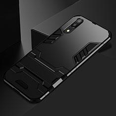 Coque Contour Silicone et Plastique Housse Etui Mat avec Support pour Huawei P20 Noir