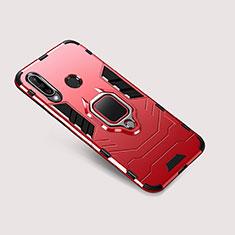 Coque Contour Silicone et Plastique Housse Etui Mat avec Support pour Huawei P30 Lite New Edition Rouge