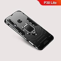Coque Contour Silicone et Plastique Housse Etui Mat avec Support pour Huawei P30 Lite Noir