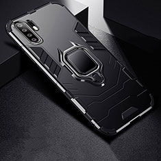 Coque Contour Silicone et Plastique Housse Etui Mat avec Support pour Huawei P30 Pro Noir
