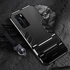 Coque Contour Silicone et Plastique Housse Etui Mat avec Support pour Huawei P40 Noir