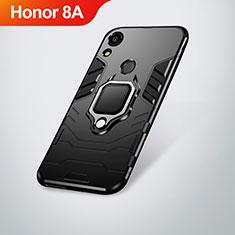 Coque Contour Silicone et Plastique Housse Etui Mat avec Support pour Huawei Y6 Prime (2019) Noir