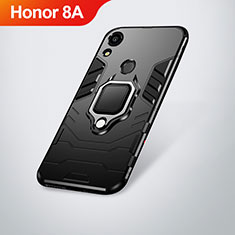 Coque Contour Silicone et Plastique Housse Etui Mat avec Support pour Huawei Y6 Pro (2019) Noir