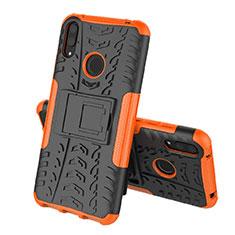 Coque Contour Silicone et Plastique Housse Etui Mat avec Support pour Huawei Y7 (2019) Orange